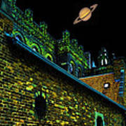 Saturn Over Pabst Brewery Fantasy Image Of Abandoned Home Of Blue Ribbob Beer From 1860  Poster