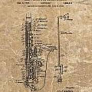 Saxophone Patent Design Illustration Poster