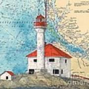 Scarlett Pt Lighthouse Bc Canada Chart Art Poster