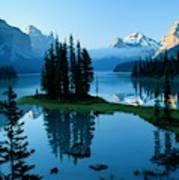 Scenic View Of Maligne Lake In Jasper Poster