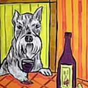 Schnauzer At The Wine Bar Poster by Jay  Schmetz
