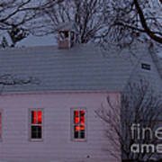 School House Sunset Poster by Cheryl Baxter