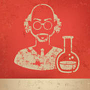 Scientist On Red Background,poster Poster