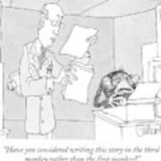 Scientist Talking To Monkey At Typewriter Poster