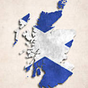 Scotland Map Art With Flag Design Poster