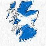 Scotland Painted Flag Map Poster