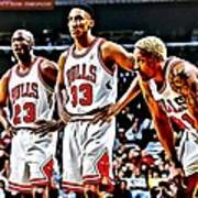 Scottie Pippen With Michael Jordan And Dennis Rodman Poster by Florian Rodarte