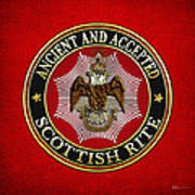 Scottish Rite Double-headed Eagle On Red Leather Poster