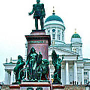 Sculpture Of Alexander II In Cathedral Of Helsinki-finland Poster