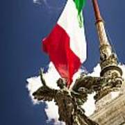 Sculpture Of Angel On The Background Of The Italian Flag Poster
