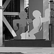 Sculpture On State Street In Black And White  Poster