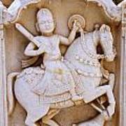 Sculpture On The Royal Cenotaphs Near Jaisalmer In India Poster