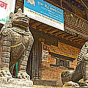 Sculptures Of Protector Figures In Front Of Sufata Buddhist College In Patan Durbar Square Poster