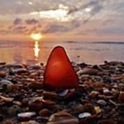 Sea Glass Sunrise And Shells 9 10/18 Poster