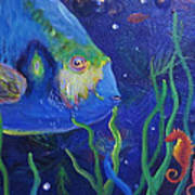 Sea Horse And Blue Fish Poster