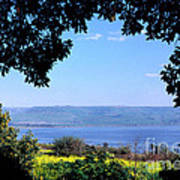 Sea Of Galilee From Mount Of The Beatitudes Poster by Thomas R Fletcher