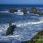 Sea Stacks Central Coast Near Rockport California Poster