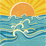 Sea Waves And Yellow Sun On Old Paper Poster