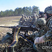 Seabees Fire The M2 .50-caliber Machine Poster
