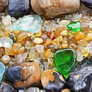 Seaglass Art Prints Coastal Beach Sea Glass Poster by Baslee Troutman