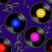 Seamless Music Pattern With Vinyl Poster