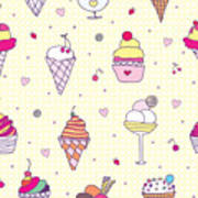 Seamless Pattern Delicious Ice Cream Poster