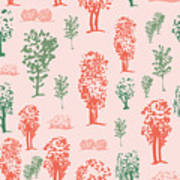 Seamless Tree Pattern, Deciduous Trees Poster