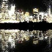 Sears Tower Dominated Skyline Lake Reflection  Poster