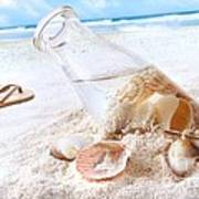 Seashells In A Bottle On The Beach Poster by Sandra Cunningham