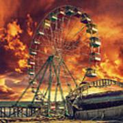 Seaside Ferris Wheel Poster by Kim Zier