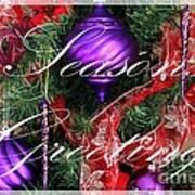 Seasons Greetings - Greeting Card - Purple - Red - Gold Poster