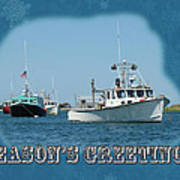 Season's Greetings Holiday Card - Boats In Peaceful Harbor Poster