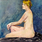 Seated Blond Nude Poster
