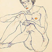 Seated Female Nude Poster