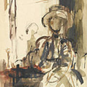 Seated Figure Woman Seated, Wearing Poster
