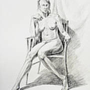 Seated Nude Model Study Poster