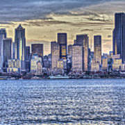 Seattle At Twilight From Alki Beach Poster