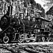 Seattle City Light Train In Bw Poster