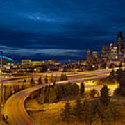Seattle City Skyline At Blue Hour Poster