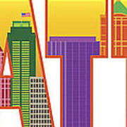 Seattle City Skyline Text Outline Color Illustration Poster