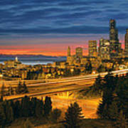 Seattle Cityscape After Sunset Poster