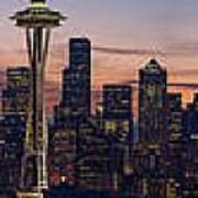 Seattle Cityscape Morning Light Poster