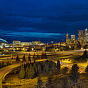 Seattle Downtown Skyline And Freeway At Twilight Poster