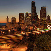 Seattle Downtown Skyline At Dusk Poster