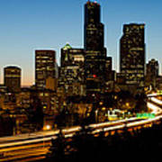 Seattle Downtown Skyline Evening View Poster