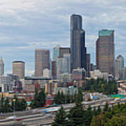 Seattle Downtown Skyline On A Cloudy Day Poster