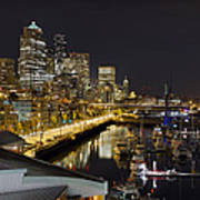 Seattle Downtown Skyline Waterfront Marina Poster
