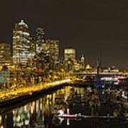 Seattle Downtown Waterfront Skyline At Night Reflection Poster