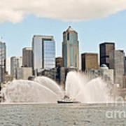 Seattle Downtown With Fireboat Poster