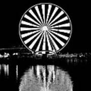 Seattle Great Wheel Black And White Poster